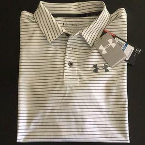 Boys YXL Loose HeatGear striped polo shirt